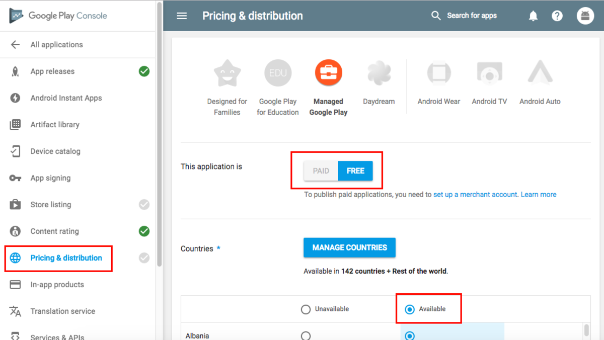 Pricing & distribution section
