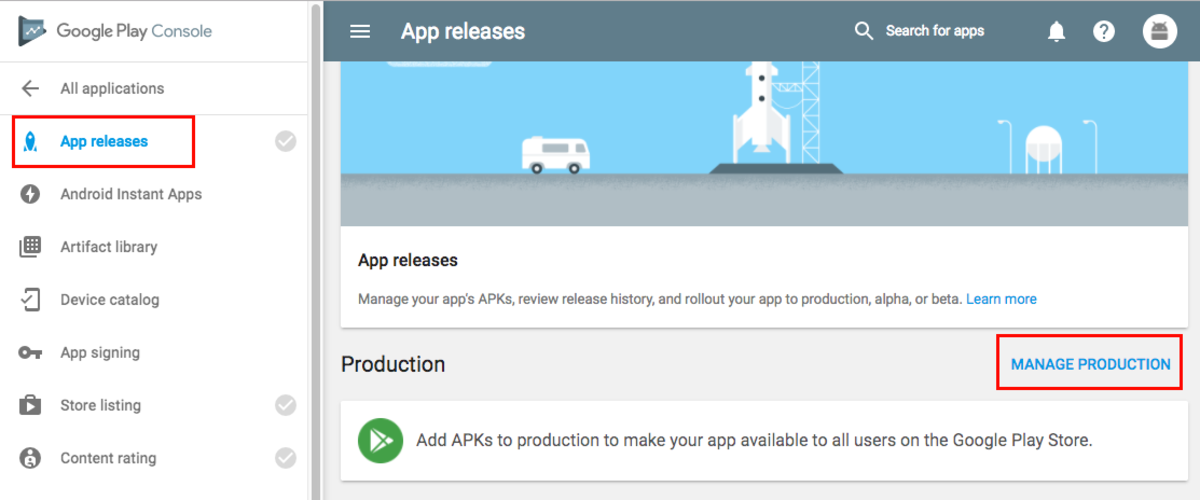 App releases section