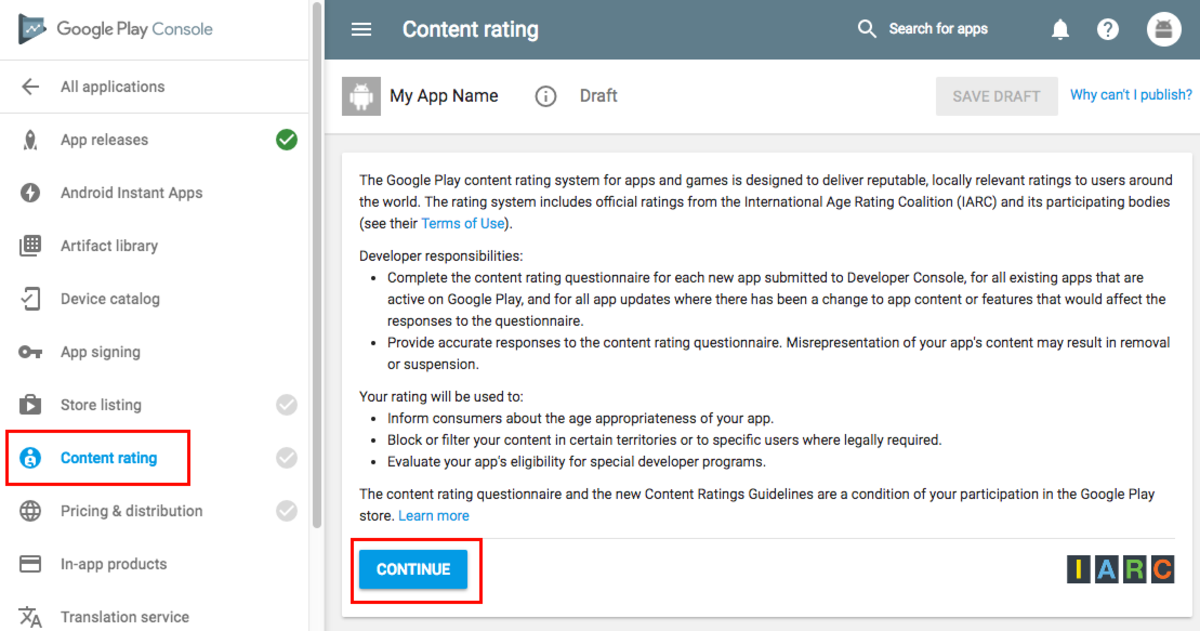 Content ratings page
