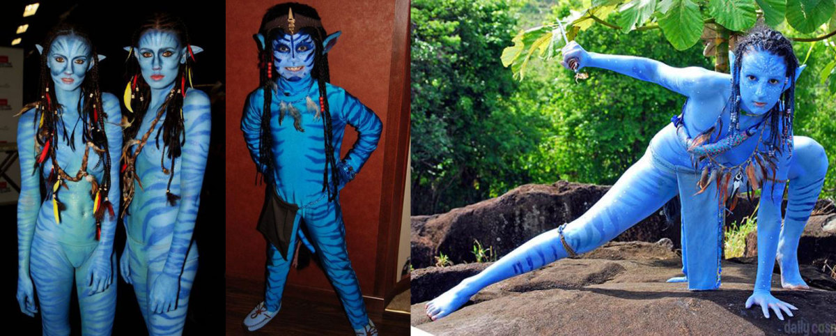 The ultimate blue costumes may well be those of the giant blue aliens called the Na'vi from the movie Avatar. These costumes are only suitable for the fit, since you will need to wear only blue body paint and a loin cloth.