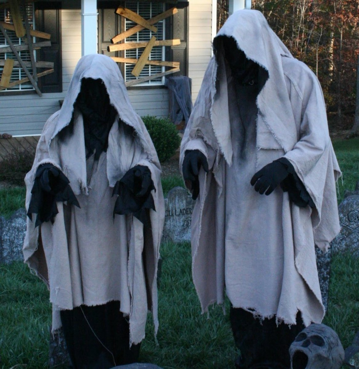 These may be typical of the very early Halloween costumes that were meant to frighten people, and they certainly do just that.
