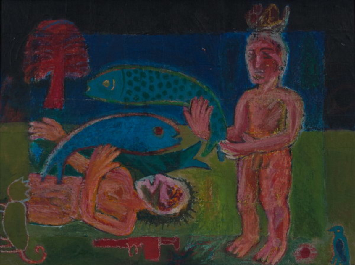 """Playthings"" (1999), painting, mixed media on wood"