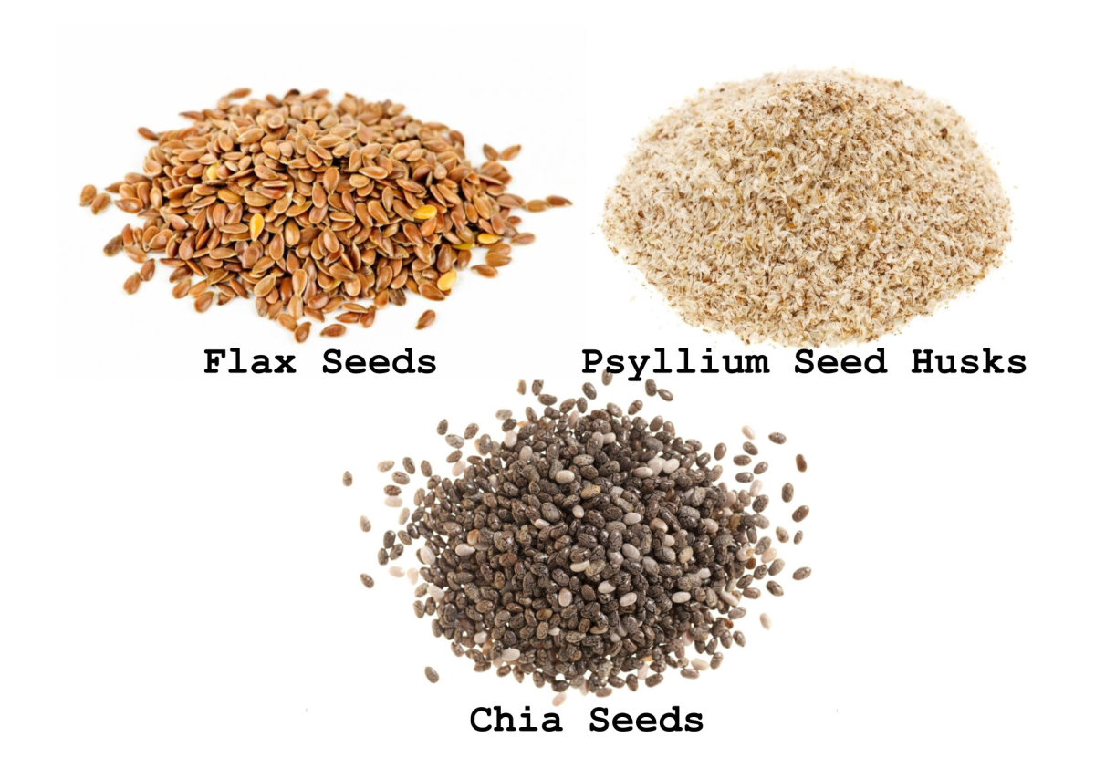 Flax seeds, psyllium seed husks, and chia seeds