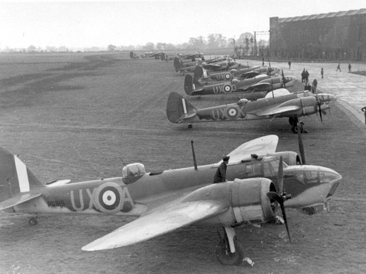 British Bristol Blenheim bombers with the RAF Advanced Striking Force: English aircraft were deployed to the continent in small number with obsolete aircraft, and performed badly during the 1940 campaign.