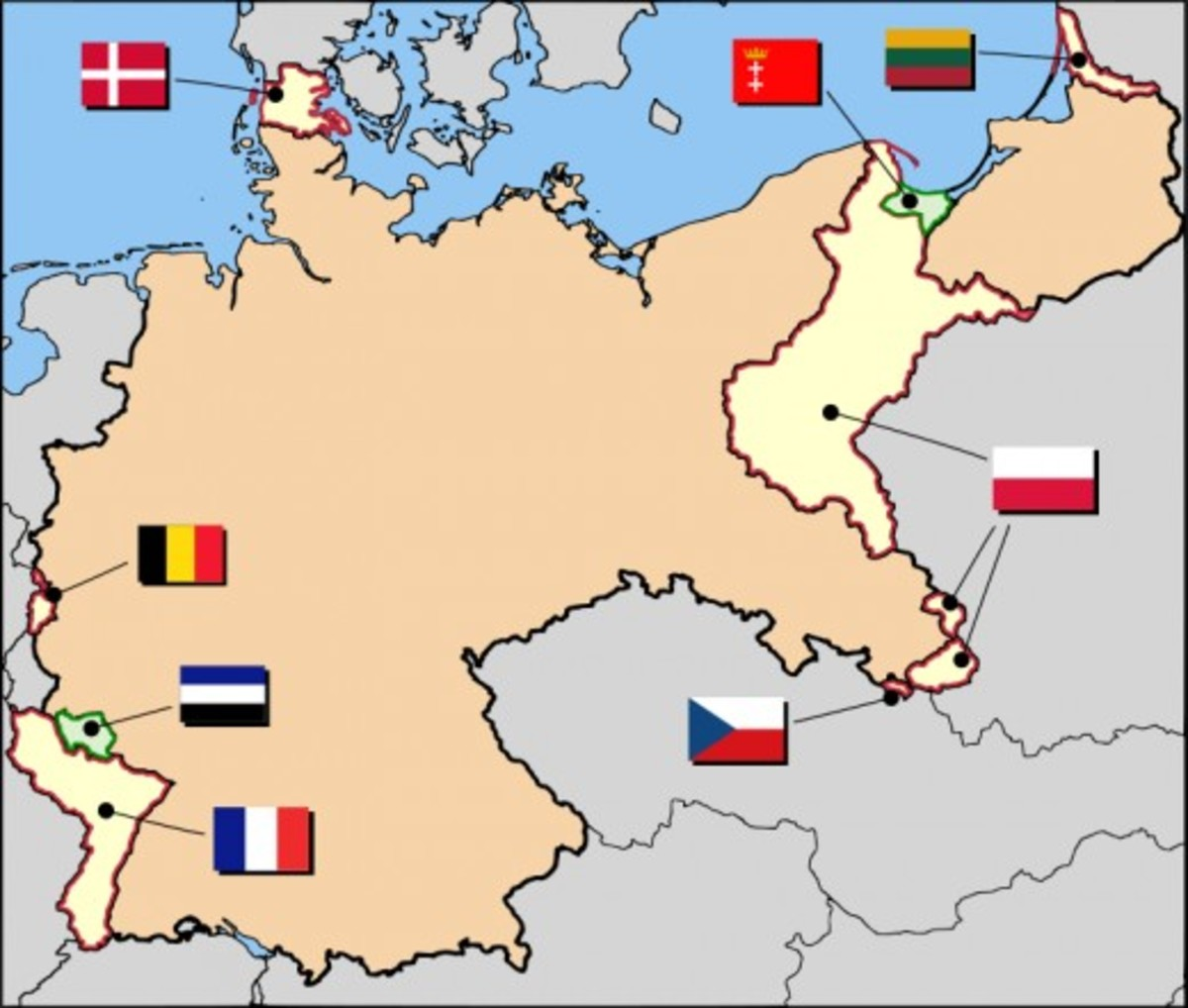 German territorial losses were extensive, but most were not unjust.