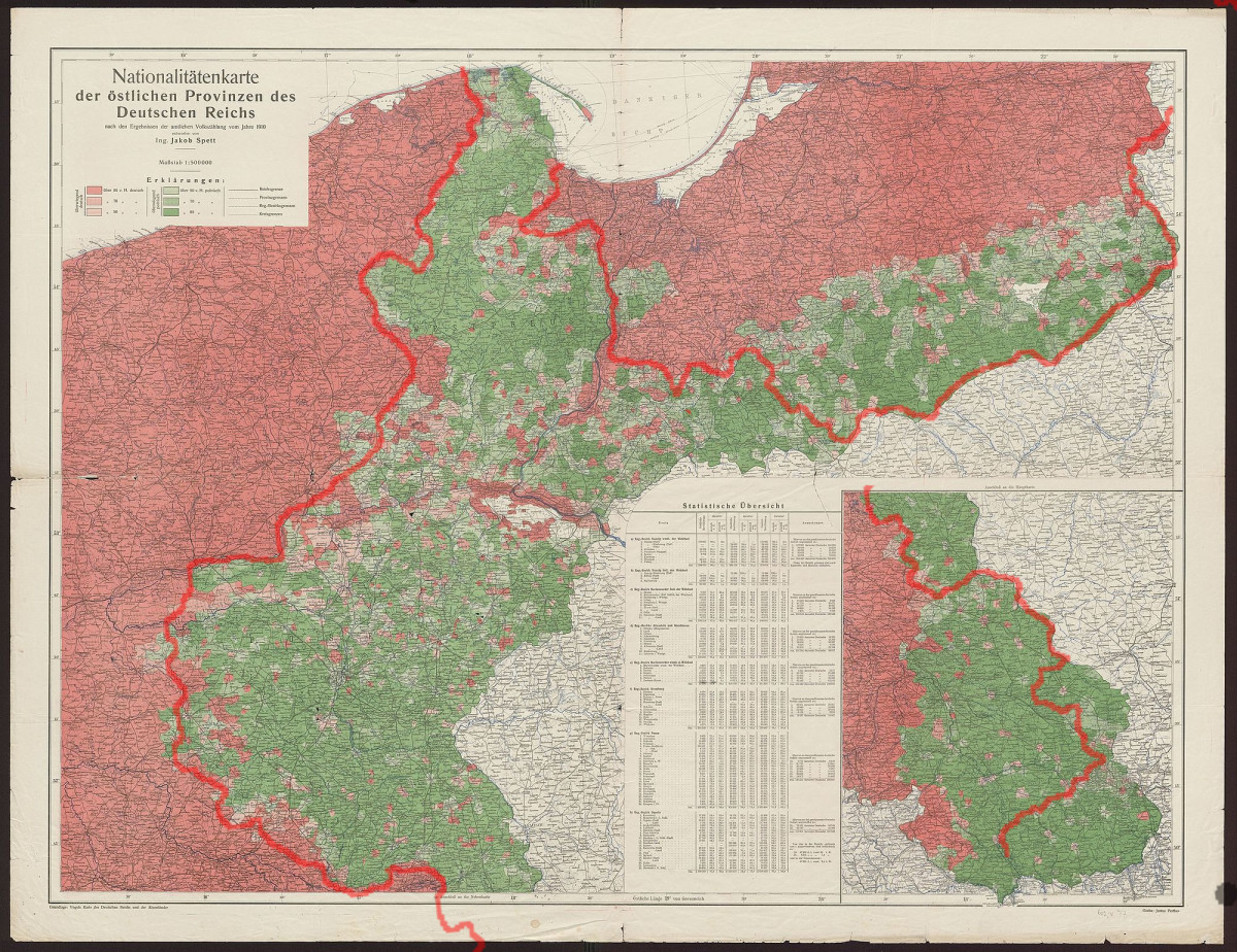An ethnographic map of Germany/Poland, showing regions in red as possessing a German majority, and regions in Green as a Polish majority, both graduated by respective level of majority. The red line is the border between the two.