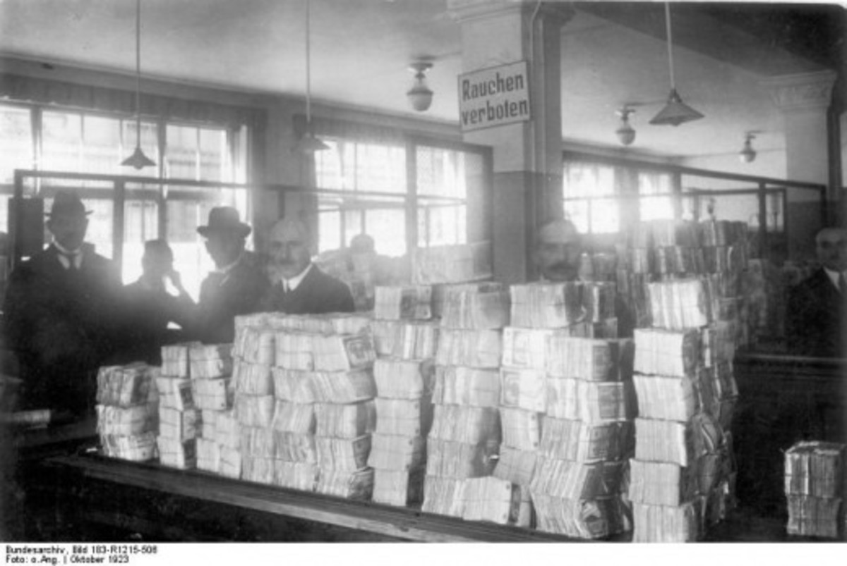 German hyperinflation, as seen by these huge stacks of paper money awaiting distribution, is often blamed as a direct result of reparations imposed by the Treaty of Versailles, but stems more from German internal politics and responses.