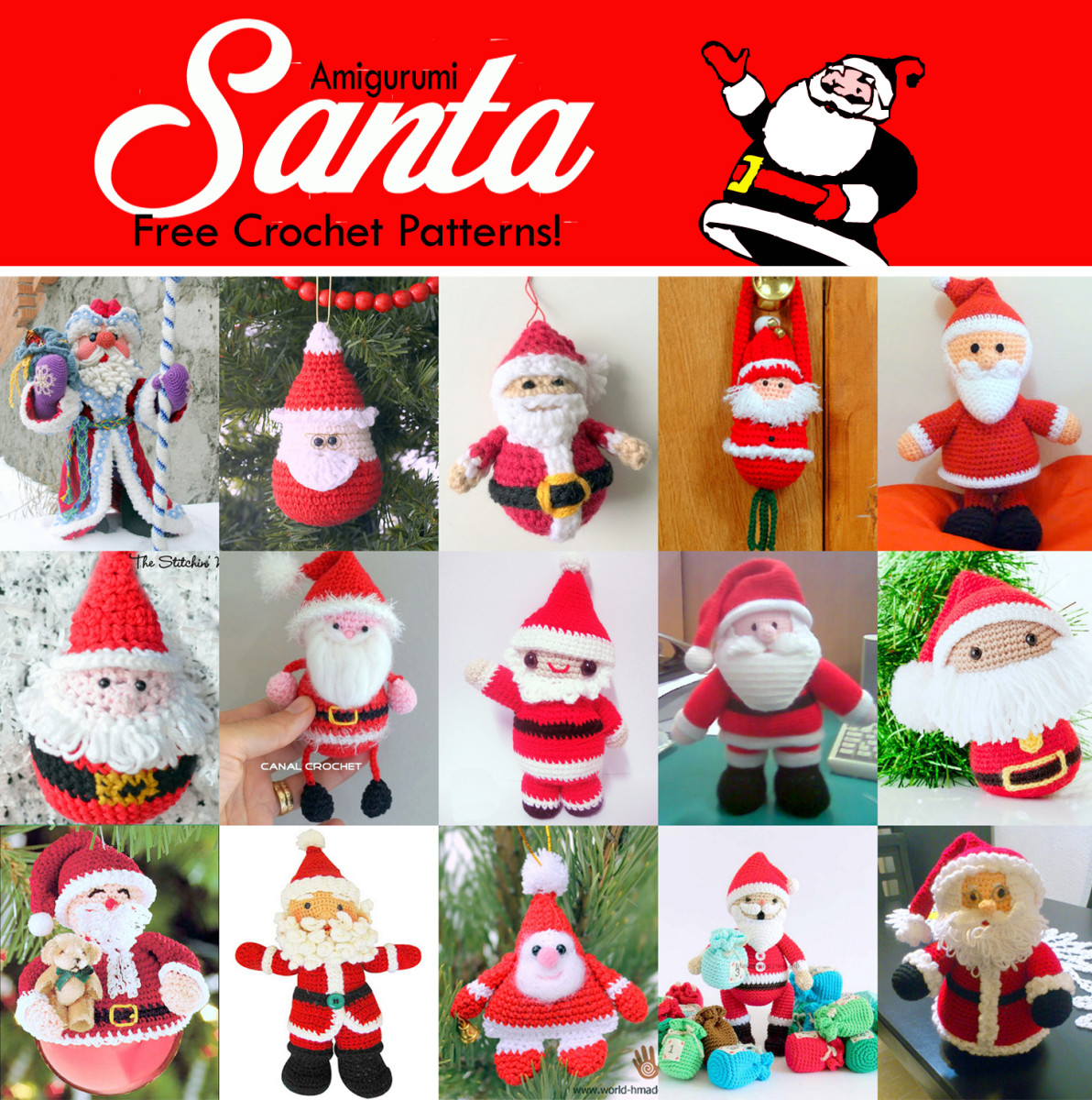 19 Free Amigurumi Christmas Santa Crochet Patterns