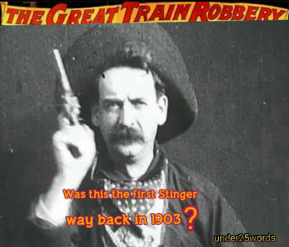 Justus D. Barnes in 'The Great Train Robbery' in 1903. Meme: under25words media