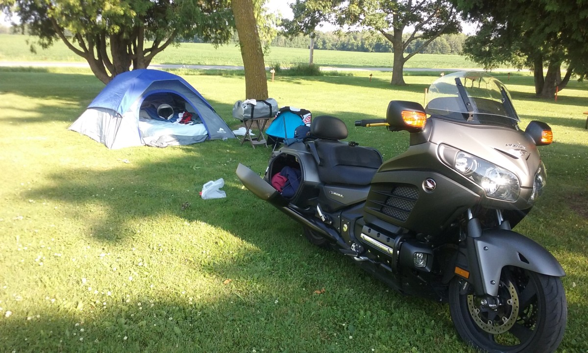 "Nothing like setting up ""home"" while traveling on the motorcycle."