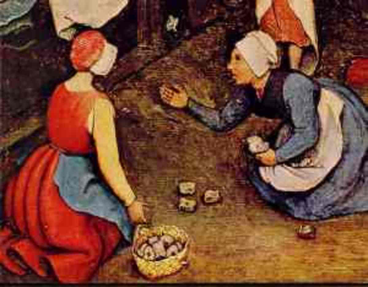 "Up close portion of ""Children's Games"" by Brugel, painted in 1560, depicting two girls playing knucklebones."