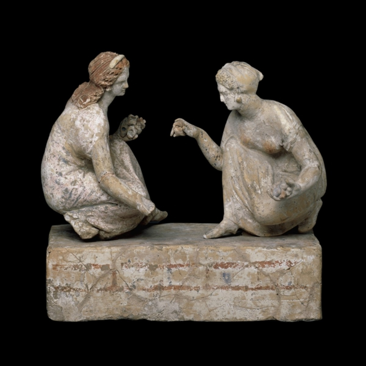"""Ancient Greek Adolescent Girls at Play,"" dating to 330–300 BCE, currently held by the British Museum."