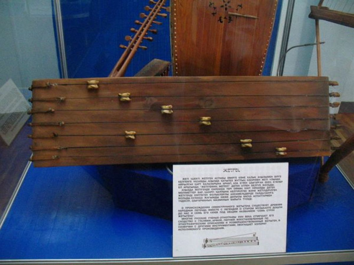 Jetigen in the museum of musical instruments in Almaty.