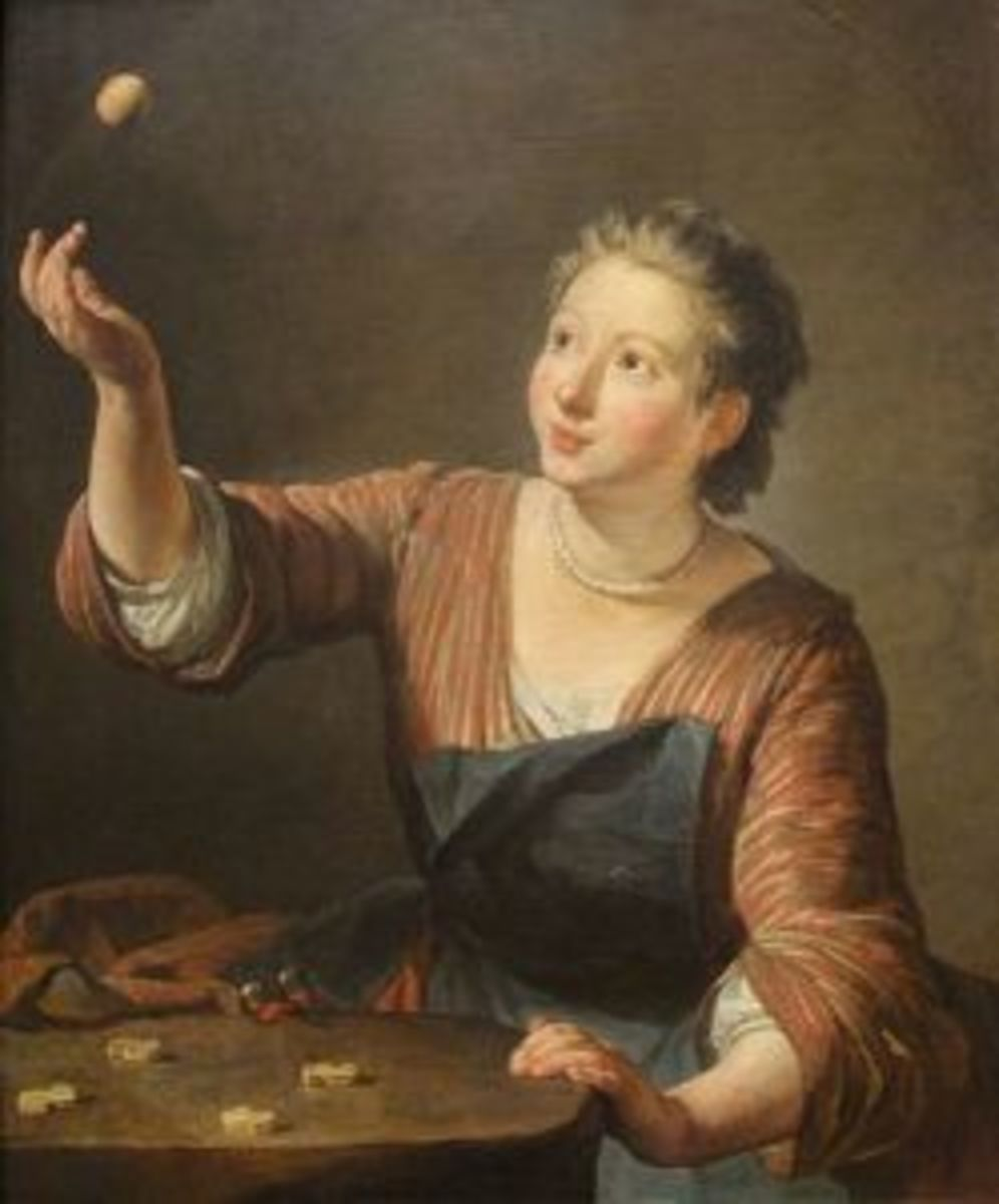 """""""Les Osselets"""" by Jean-Baptiste-Simeon Chardin, 1734."""