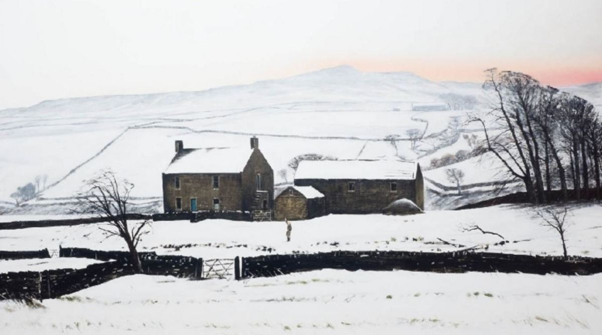 Low Birk Hatt, the farmhouse- left - and outbuildings set against a wintry sub-Pennine sky over Baldersdale