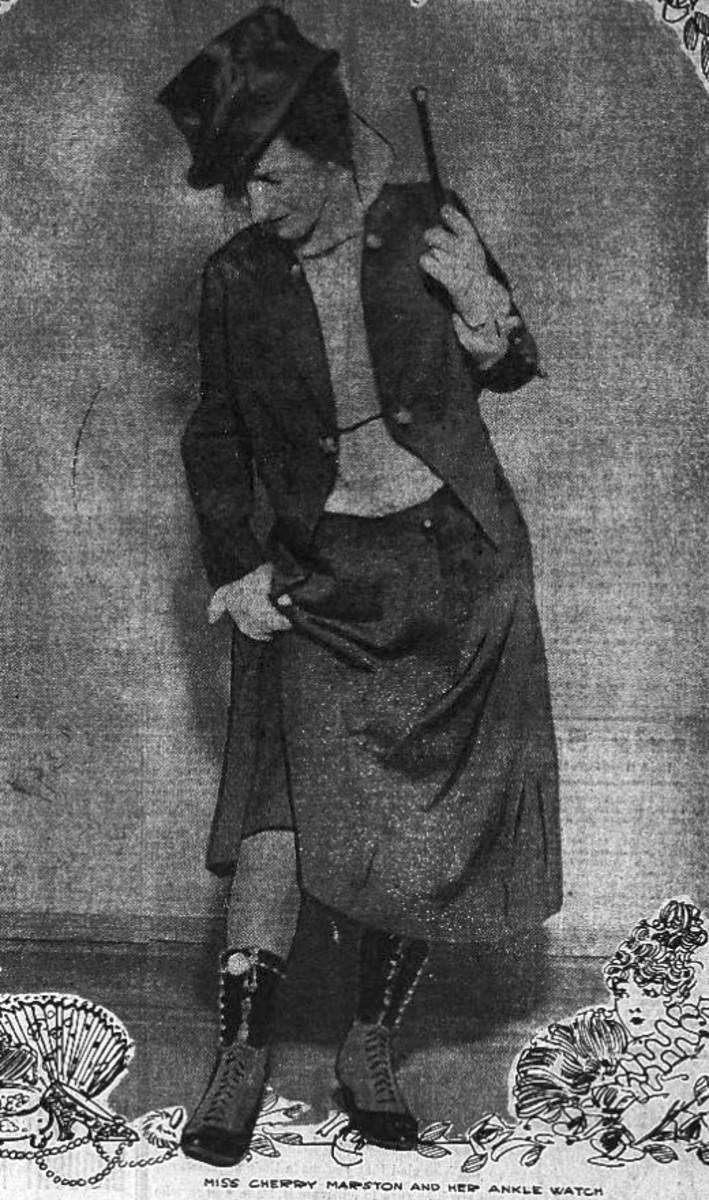Woman wearing an ankle watch.