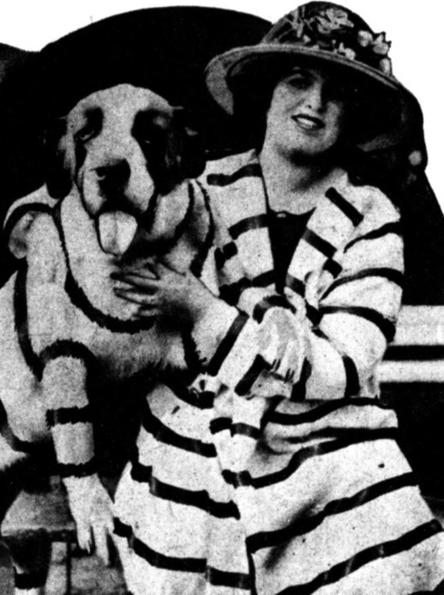Woman and dog in stripes.