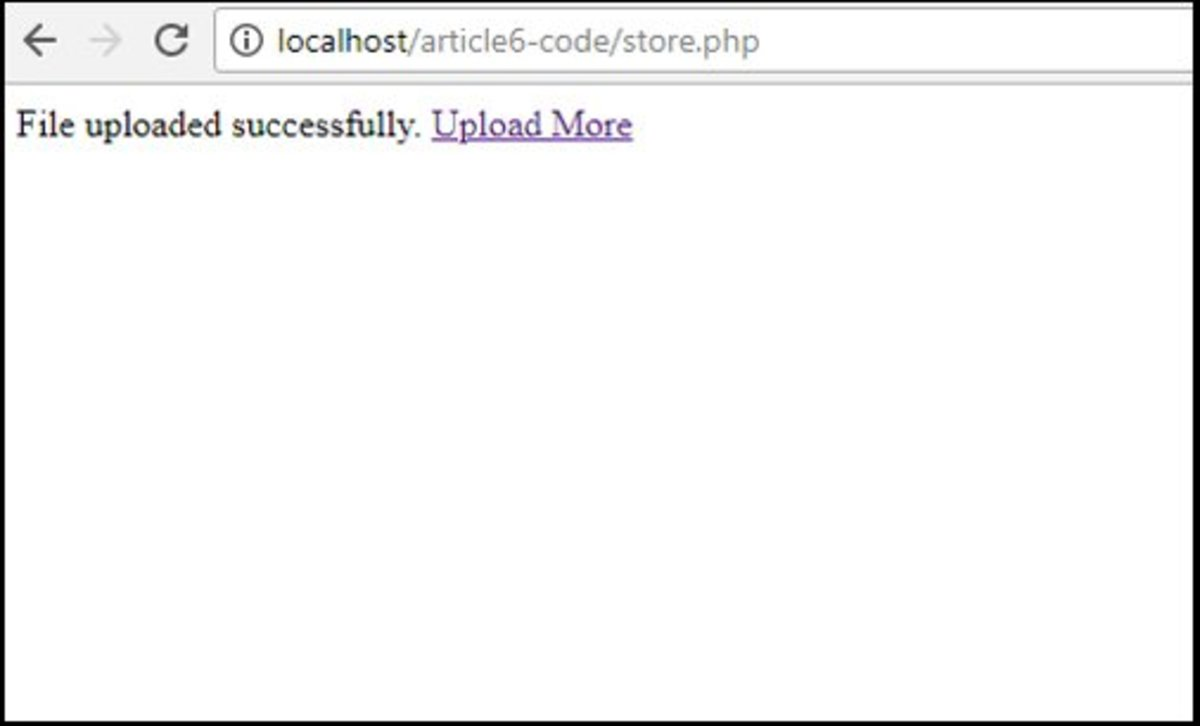 store.php file displaying message after image has been uploaded