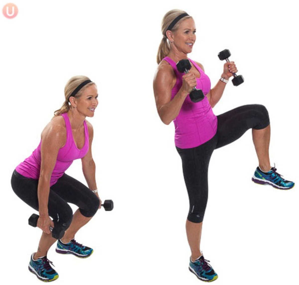 This girl does it with a bicep curl, but it is not necessary!