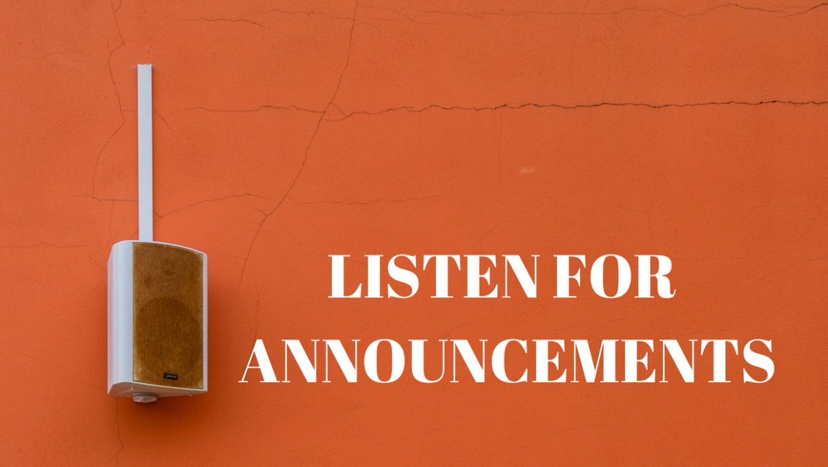 Listen for Announcements - Photo by  Michele Tardivo on Unsplash and Edited by Cromwells via Canva