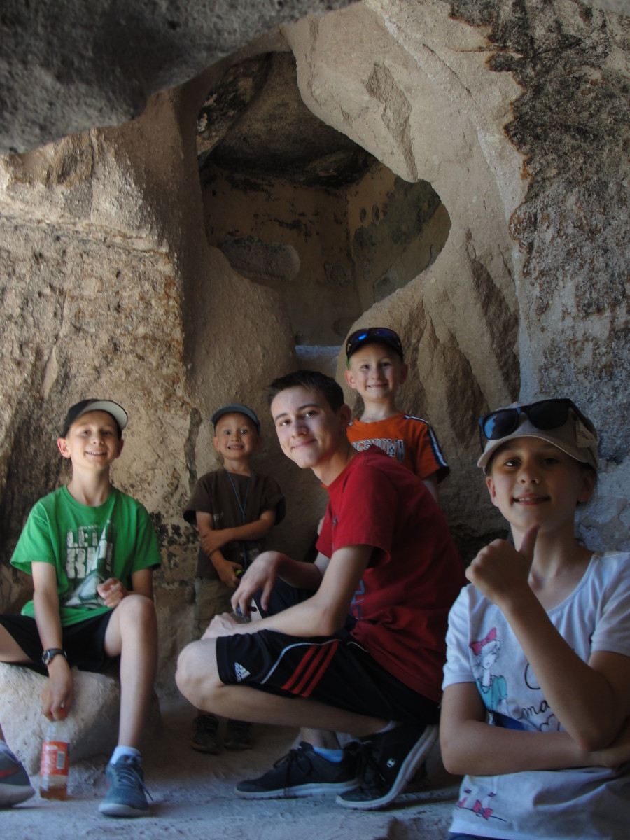 I was amazed at how cool and bright they were inside. We also got to see petroglyphs outside some of the homes.