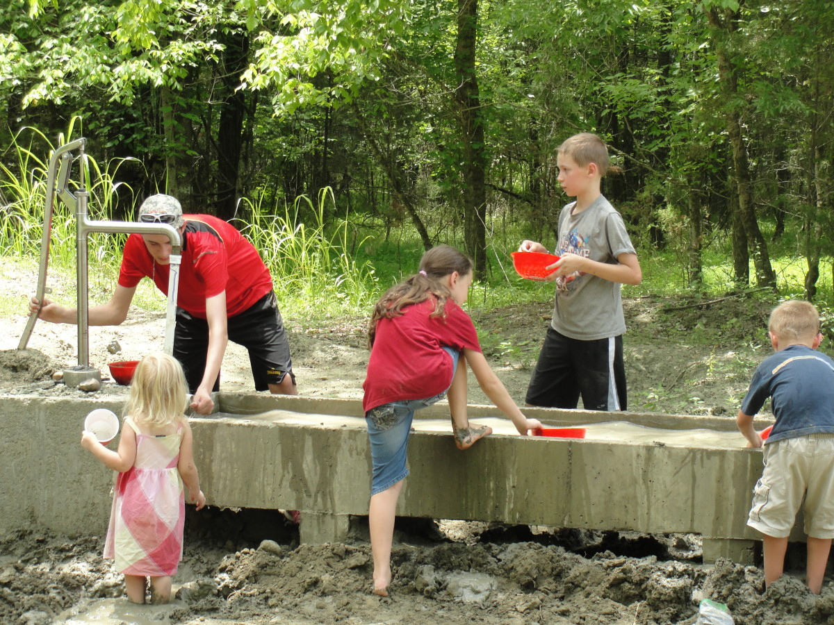 Though we didn't find any diamonds, my younger kids did find ways to create something just as exciting: mud. We had to spend quite a while spraying them clean before we left.