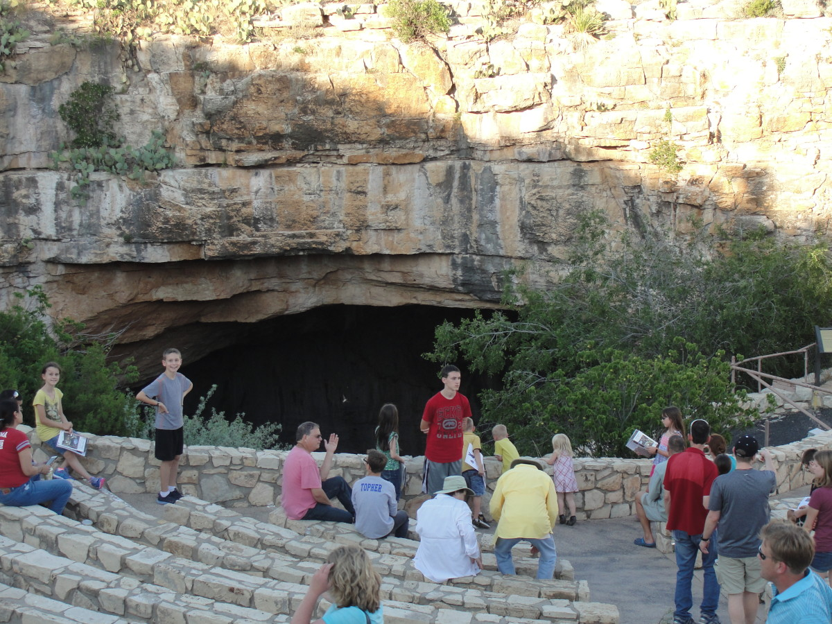Waiting for the bats at Carlsbad Cavern - They don't let you take photos when the bats actually emerge.