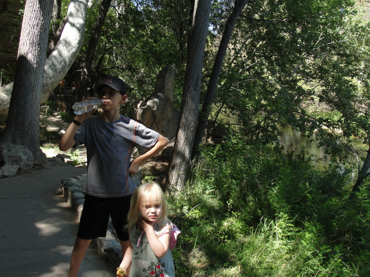 What I found to be more amazing was the unexpected sharp contrast of what came next. After hiking up to that hot desert-like region surrounding the well, we headed down a staircase next to a lush natural spring & river.