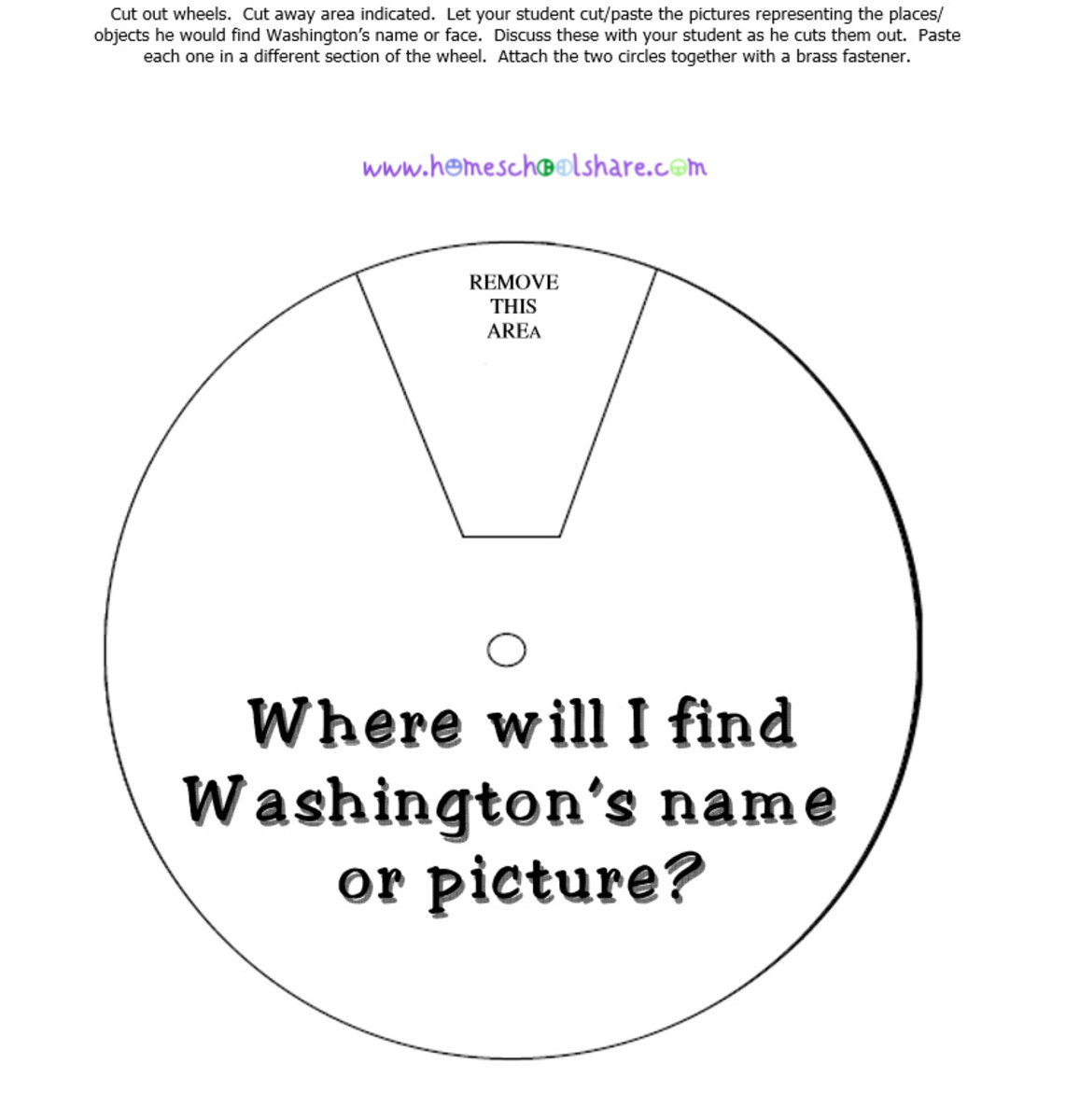 George Washington Wheel from http://www.homeschoolshare .com/president.php