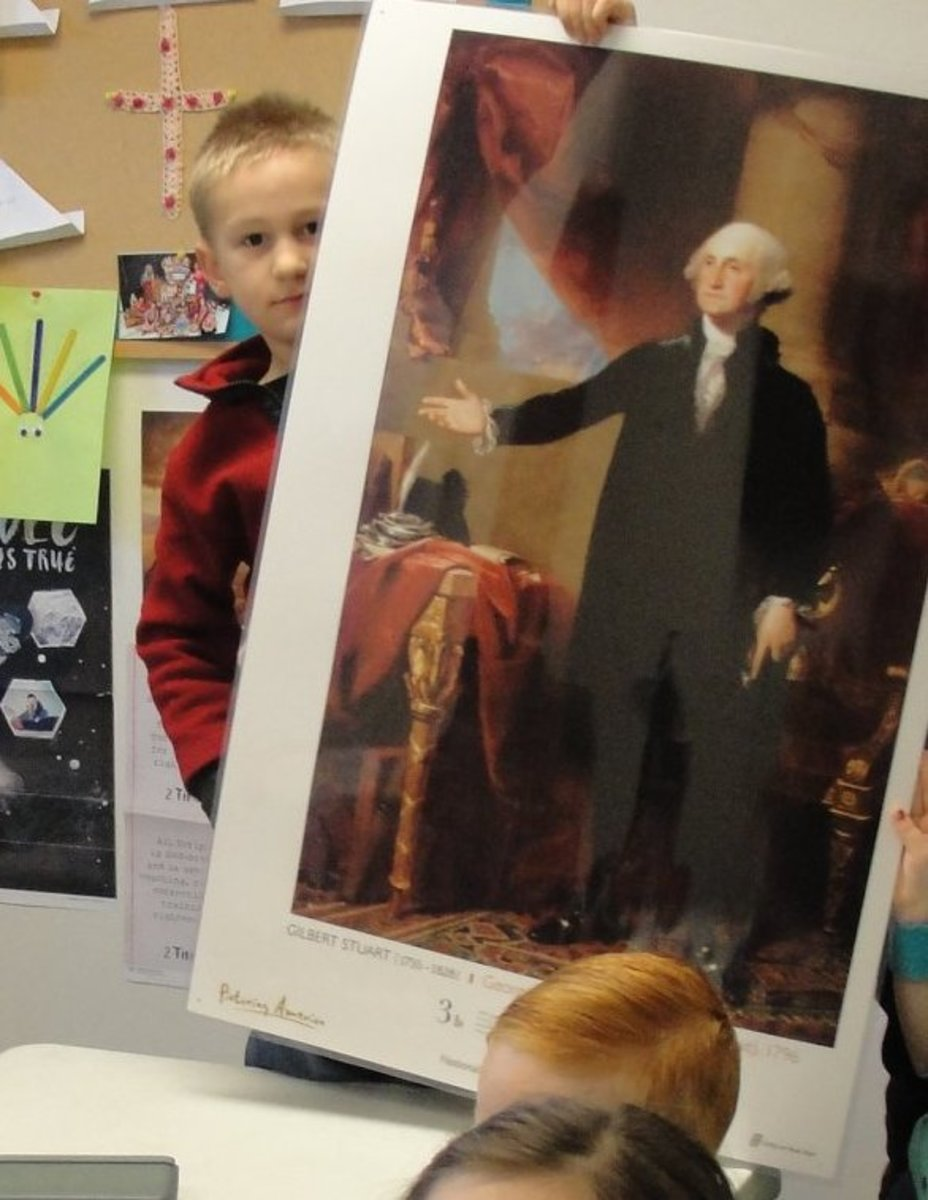 Studying Gilbert Stuart's portrait of George Washington