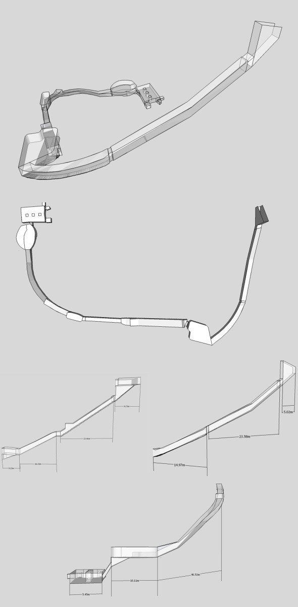 Isometric, plan and elevation images of KV20- taken from a 3d model.