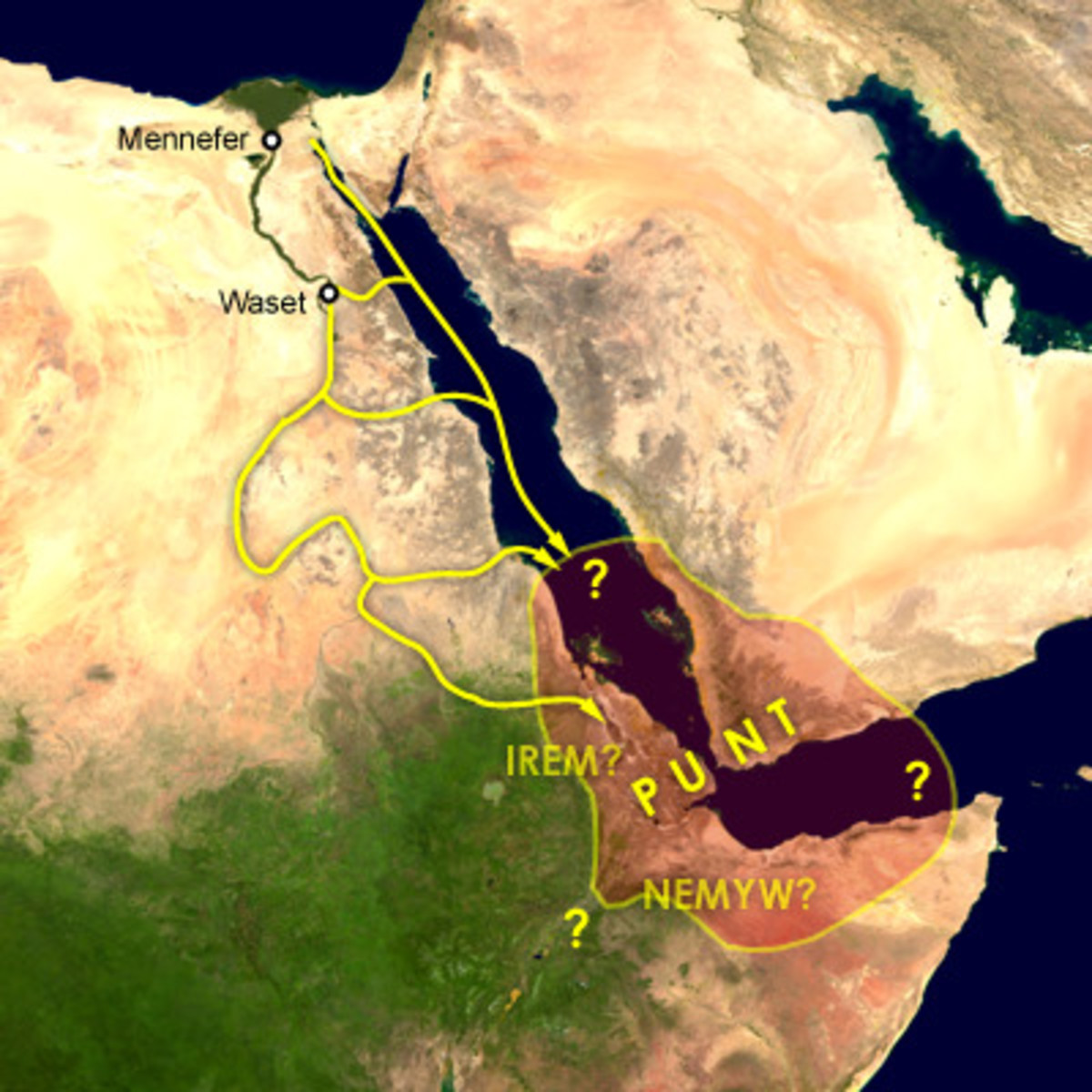 Map of the supposed location of Punt and trade routes from Egypt to Punt via rivers, wadis, and by sea.