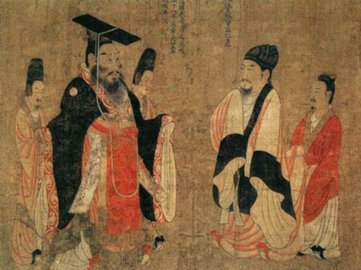 Yang Guang (left in black) depicted as Emperor of Sui