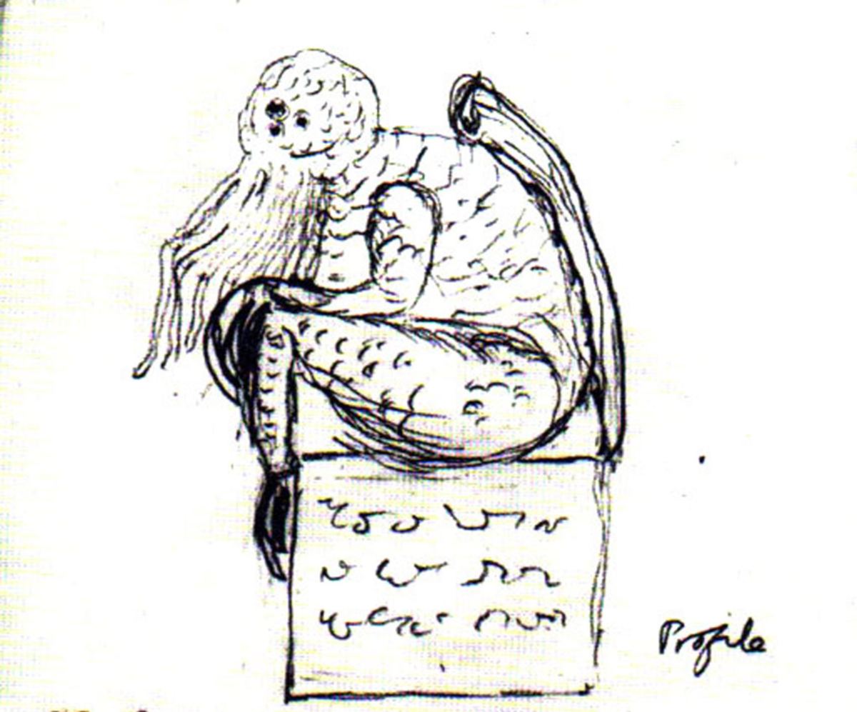 H.P. Lovecraft's drawing, of another of his creations; Cthulhu, an ancient and immortal being.
