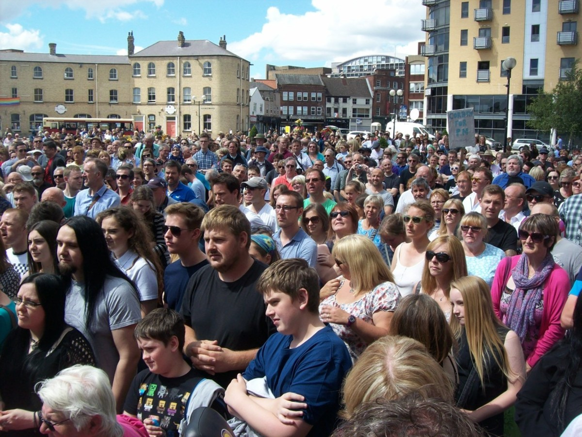 The crowd listened carefully to speakers M.P. Richard Burgon and Labour leader Jeremy Corbyn
