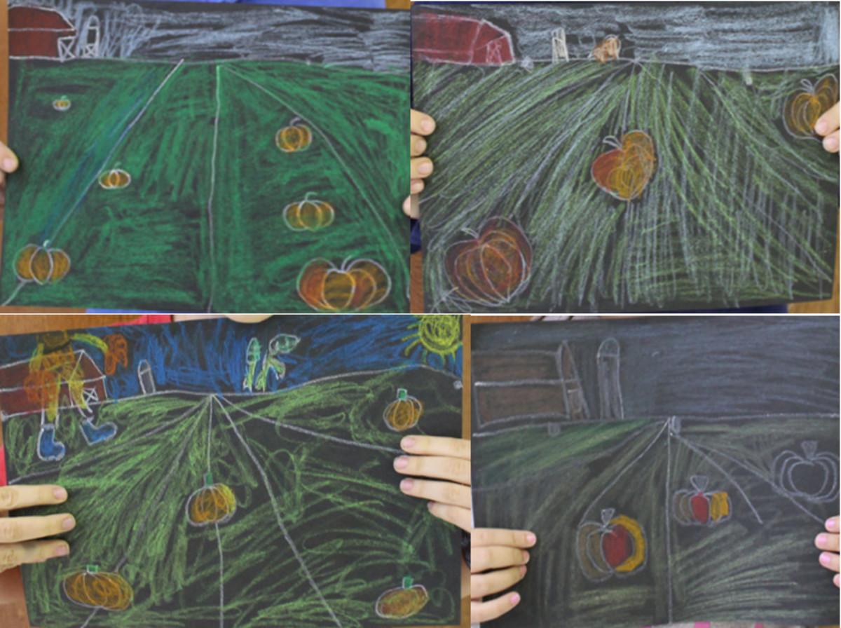 Samples of Pumpkin & One Point Perspective Projects by students in 1st & 2nd grade
