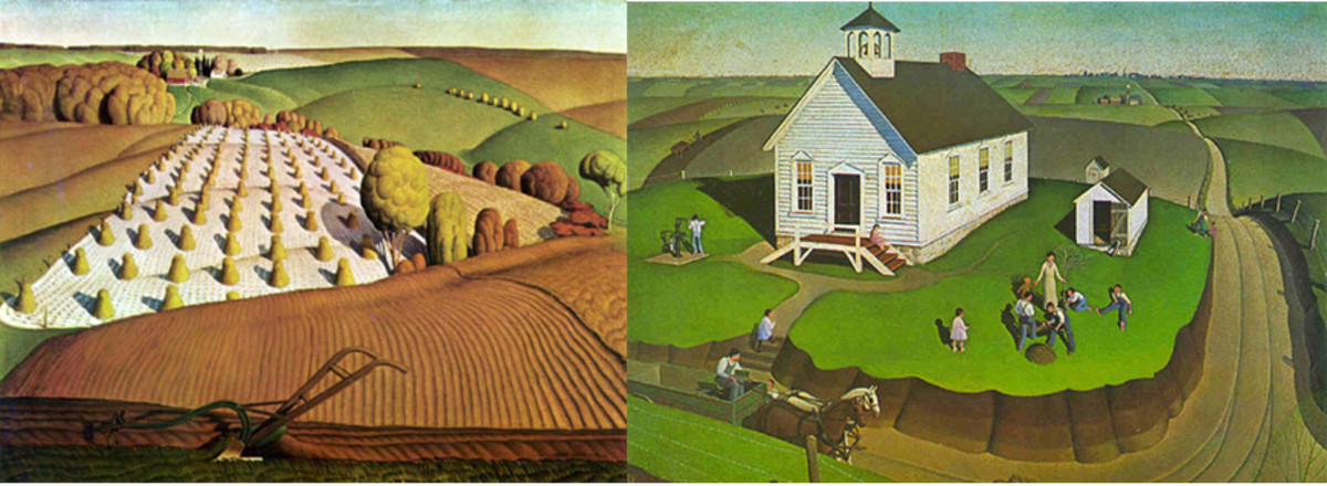 Fall Plowing & Arbor Day by Grant Wood - Images are from https://americangallery.wordpress.com/category/wood-grant/