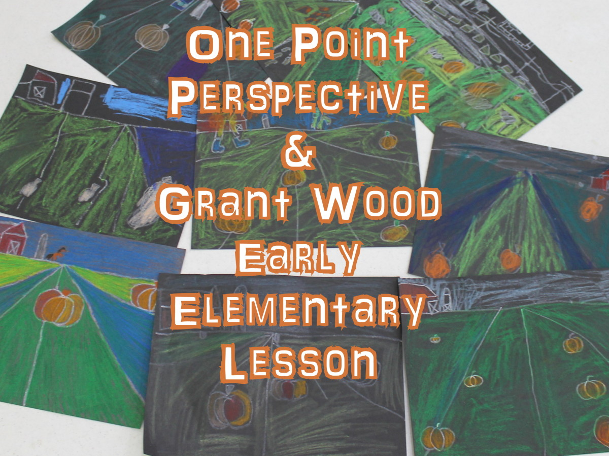One Point Perspective & Grant Wood Lesson for Early Elementary