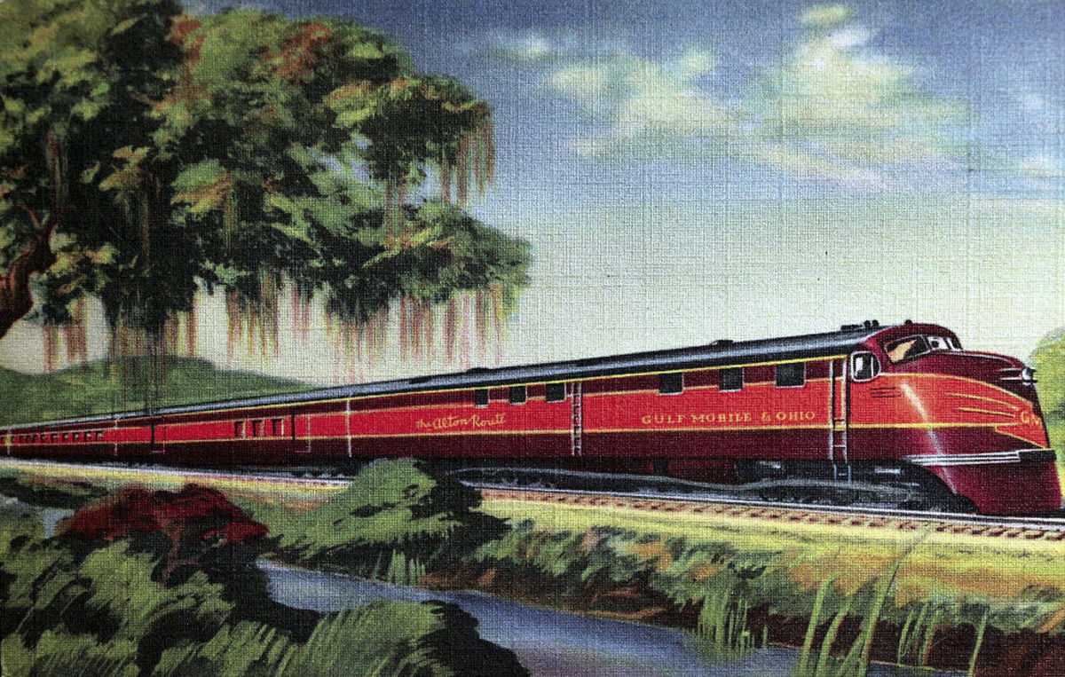 An artist rendition of the passenger train, the Rebel, which carried passenger to, from and past Houlka