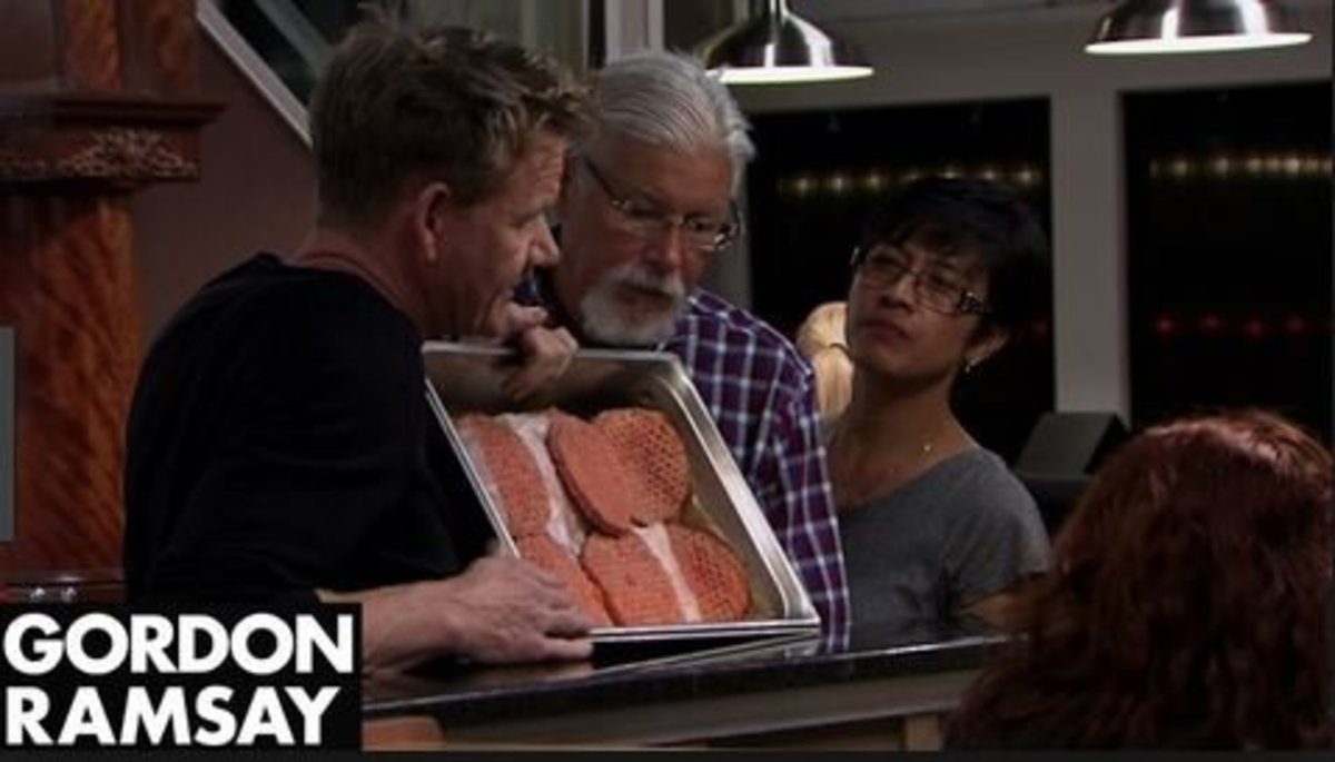 Brent MacDonald is being schooled by Gordon Ramsay on the difference between a fresh burger and frozen burger.