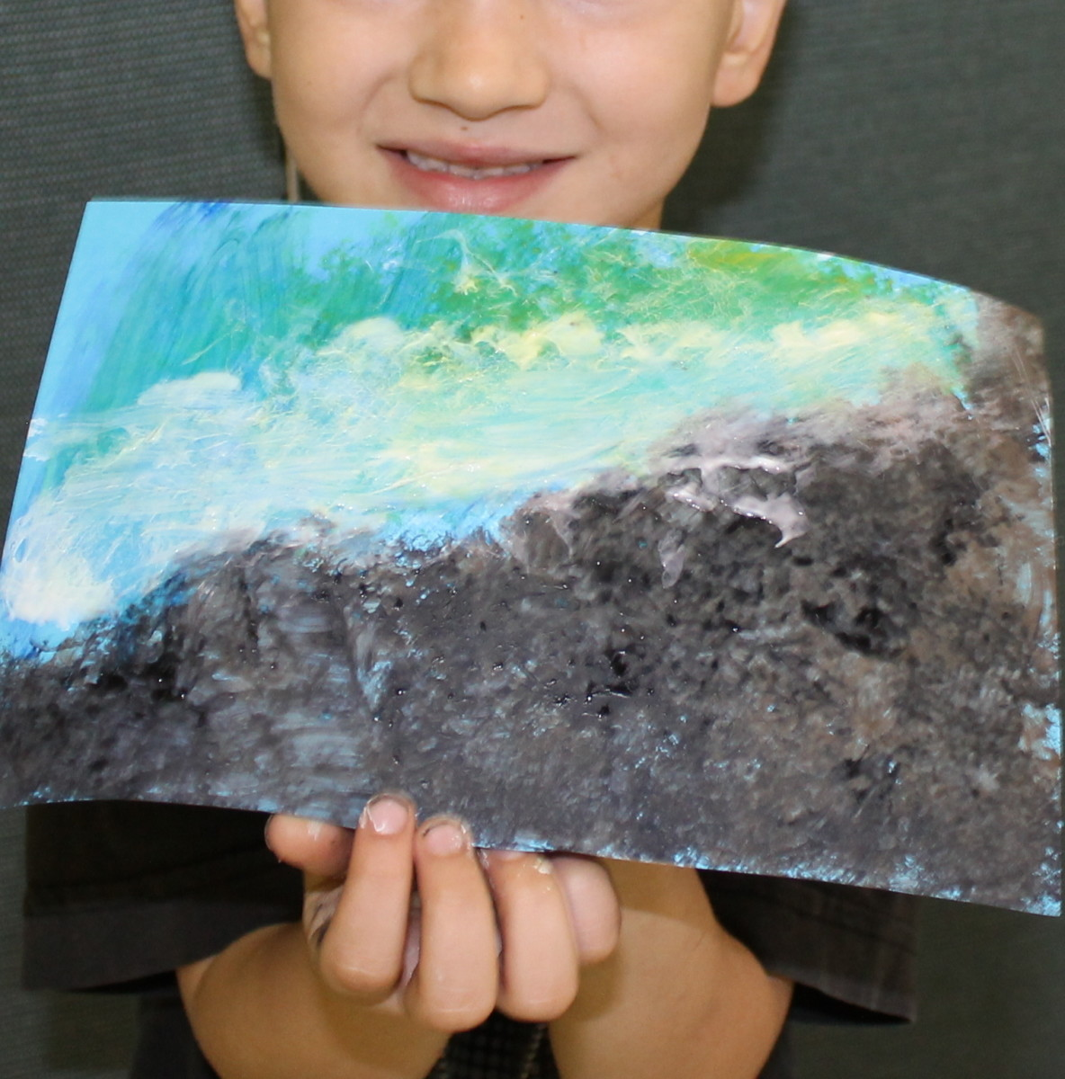 Winslow Homer-inspired textured seascape by a 5 year old