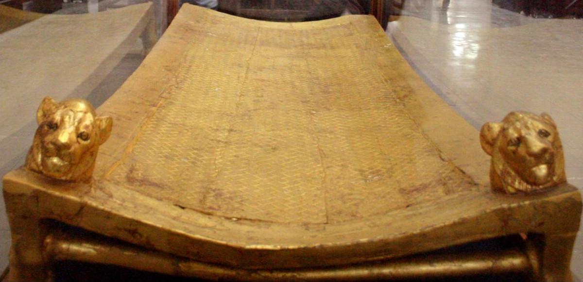 Tutankhamun's bed at the Cairo museum.