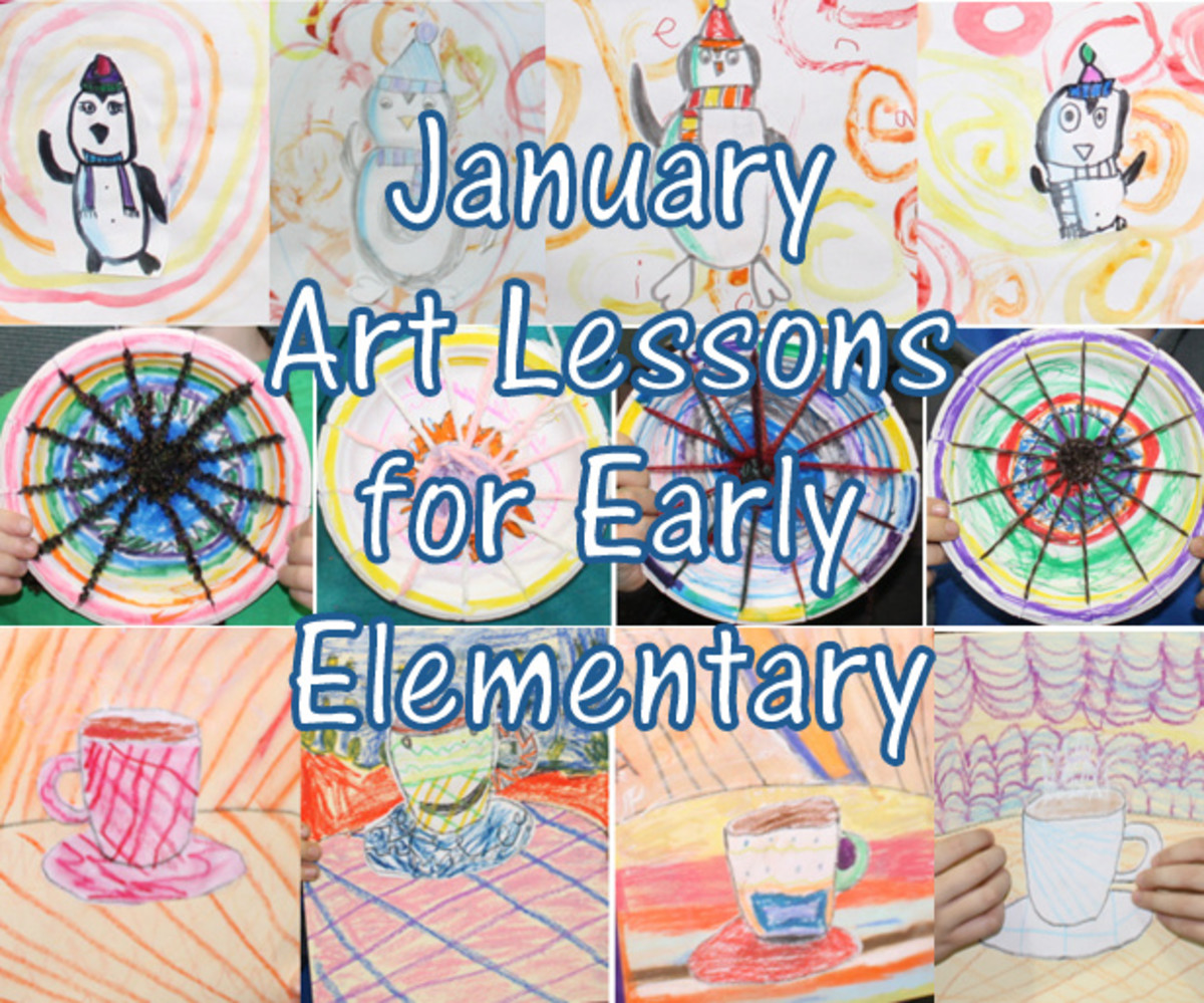 January Art Lessons for Early Elementary