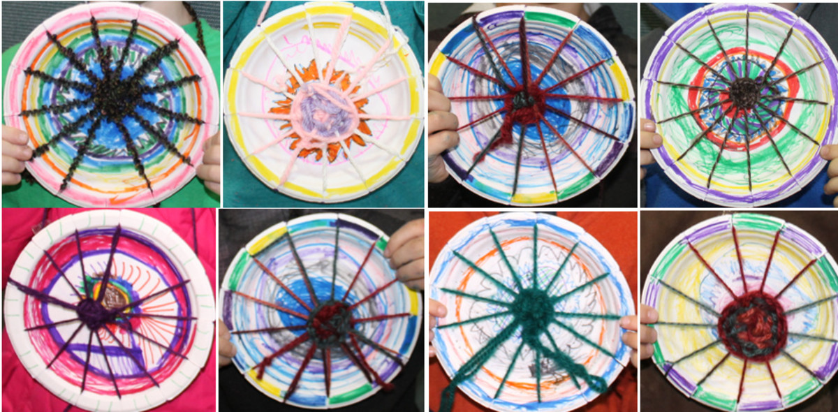Lego Trampolines: Paper Plate Looms & Weaving