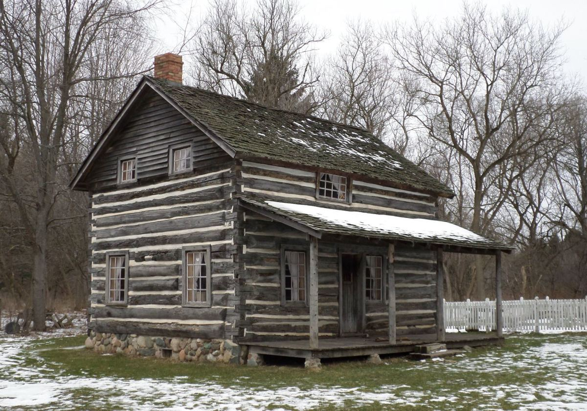 Darius Moon's authentic log cabin, now at Woldumar Nature Center.  Here he was raised with eight other siblings