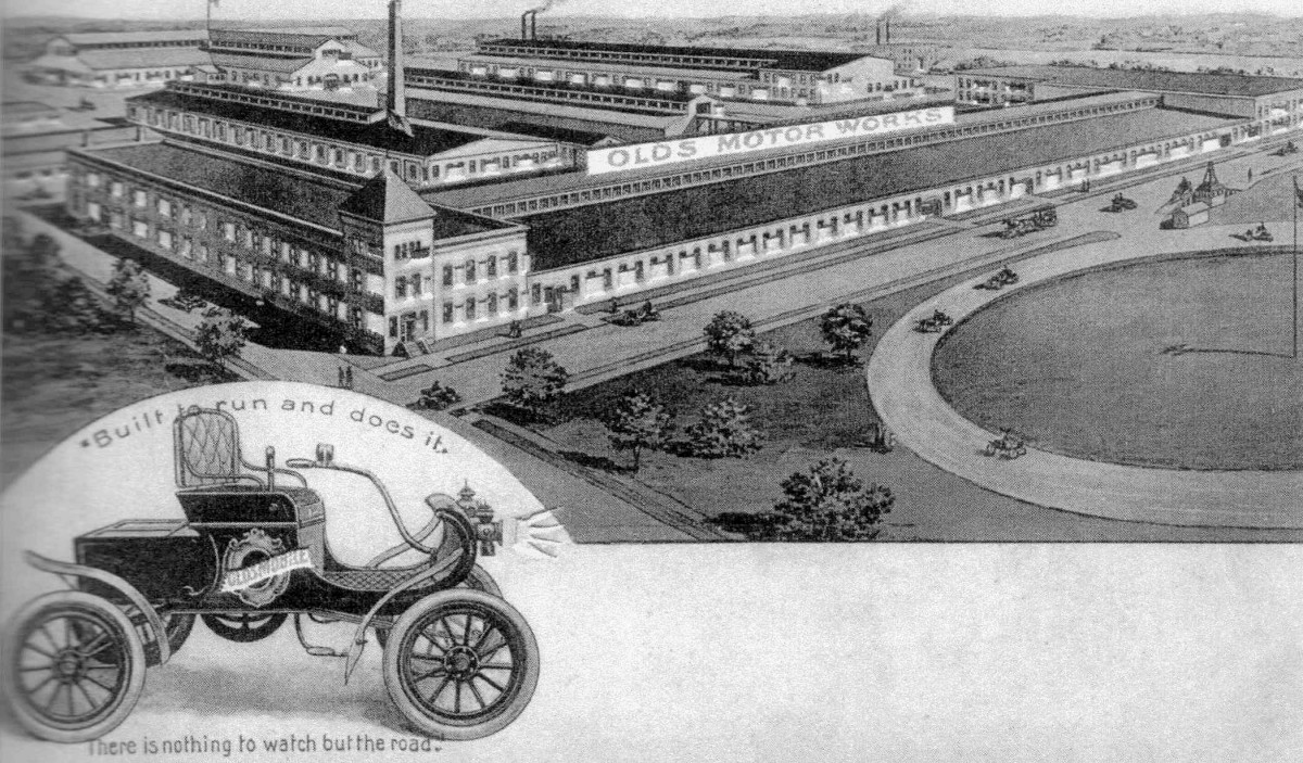 Olds Motor Works, Lansing, circa 1902, one of Moon's largest industrial projects