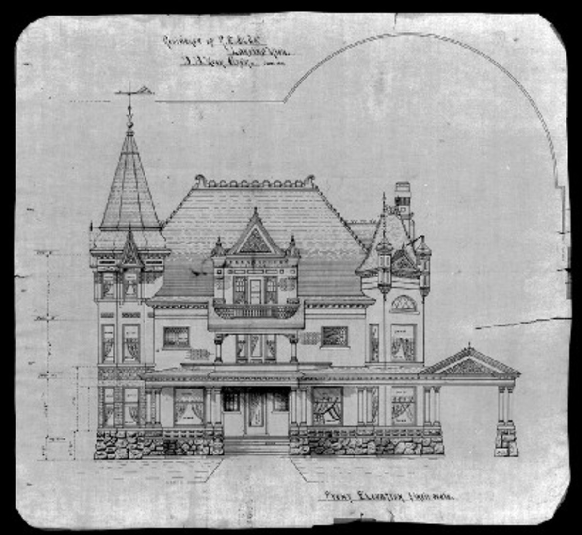 "Moon's blueprint for Olds' residence, showing ""Chateauesque"" and European influences"