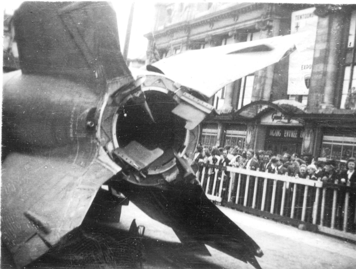 Captured V-2 on public display in Antwerp, 1945. Antwerp would become a major target for V-2s during the Battle of the Bulge. The greatest loss of life from a single V-2 took place on December 16,1944, leaving 567 dead and 291 injured