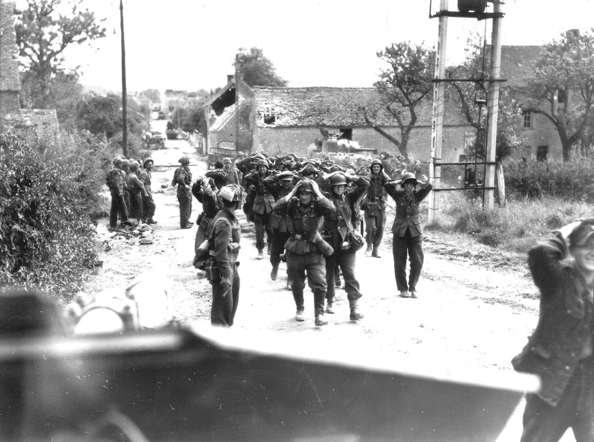 German troops surrender in France during summer of 1944 as Allied forces break out of the Normandy bridgehead.