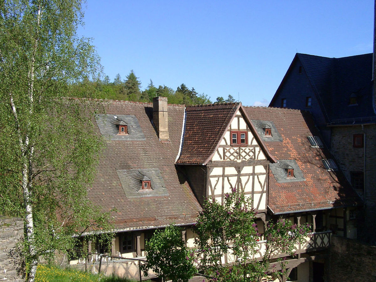 """A half timbered house in the Kransberg Castle complex beneath it was """"The Eagle's Nest""""."""